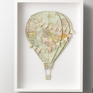 Hand-Folded Vintage Map Air Balloon with frame